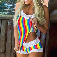 Sexy Women Two Piece Suit Hollow out Sling Tops + Cute Lace Patchwork Short Pants Suits Ladies Fashion Holiday Beach Sets