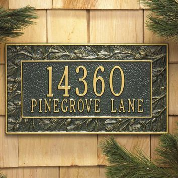 Pinecone Decorative Address Plaque