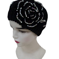 Flower With Rhinestones Infinity Winter Headband