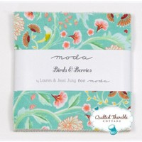 """Lauren & Jessi Jung BIRDS AND BERRIES 5"""" Charm Pack Fabric Quilting Squares Moda 25060PP   AihaZone Store"""