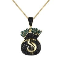 Hip Hop Money Bag Tank Pendant Black Green Simulated Diamond  Free Chain