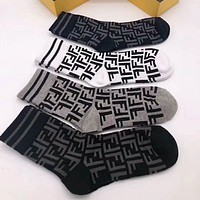 FENDI Trending Women Men Stylish FF Letter Print Sport Breathable Cotton Socks