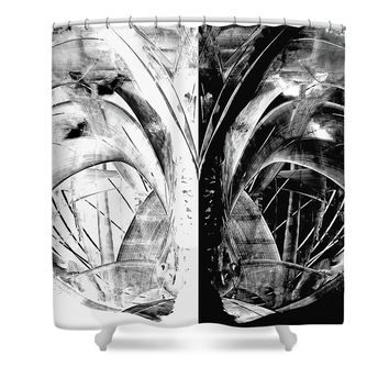 Contemporary Art - Black And White Embers 1 - Sharon Cummings Shower Curtain