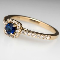 Blue Sapphire Diamond Halo Engagement Ring 14K Gold