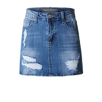 Casual Fitted Distressed Ripped Denim Skirt (CLEARANCE)