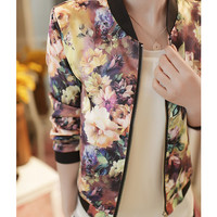 Floral Print Shrug Cotton Short Jacket