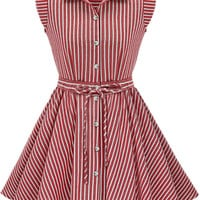 Button Up Striped Bow Tie Mini Skater Dress