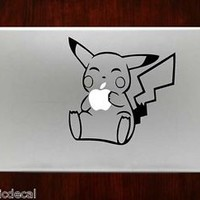Pikachu Eating Apple Pokemon Mac Decals Stickers For Macbook 13 Pro Air Decal