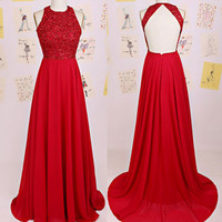 Backless Beading Red A-Line Prom Dresses