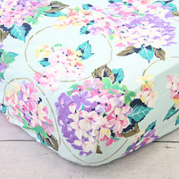 Holly's Hydrangea Ruffle Baby Bedding | Pastel Pink Blue Lavender Crib Sheets