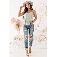 Mindy Dot Textured Lace Trimmed Tank Top (Sage)