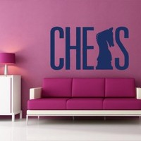 Housewares Wall Vinyl Decal Chess Game Illustration Games Home Art Decor Kids Nursery Removable Stylish Sticker Mural Unique Design for Any Room