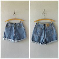 high waist denim shorts - vintage 90s paris sports club cuffed blue jean shorts - size US 8 - hipster grunge cotton dress blouses - 1990s