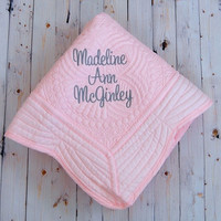 Pink Baby Quilt - Personalized Baby Blanket - Baptism Gift - New Baby Gift -  Monogram or Full Name - 36 x 46 Inches - Nursery Decor