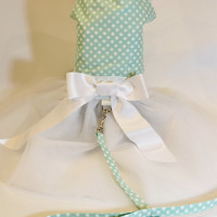 SALE RockinDogs Mint Green and White Polkadot Dog Tutu Dress with Matching Leash Set