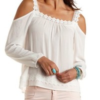 Crochet-Trim Cold Shoulder Top by Charlotte Russe - White