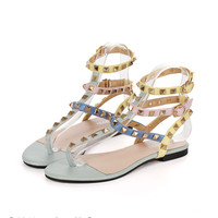 2017 Fashion Italy design brands women flats sandals rivet Rainbow multicolor flip flops women gladiator sandals high quality