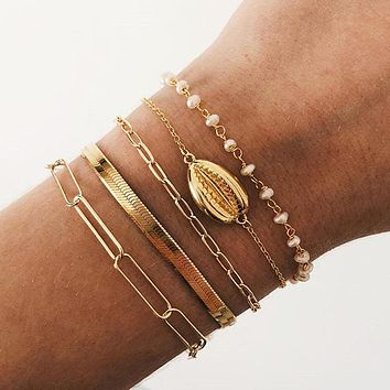 Multiple Layers Bracelets For Women New Vintage Gold Shell Artificial Pearl Chain Snake Chains Fashion Bracelet Set Jewelry