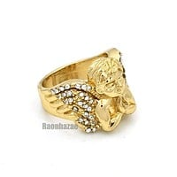 NEW MENS BIG CHUNKY GOLD MICRO MINI ANGEL RING KR012G