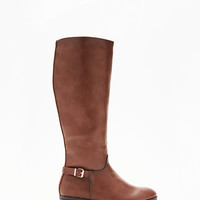 Wide Calf Heeled Equestrian Riding Boots