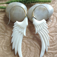 """Tribal Earrings, """"Messenger Wings"""" Natural, Bone, Brass Tops, Sterling Silver Posts, Handcrafted With Love"""
