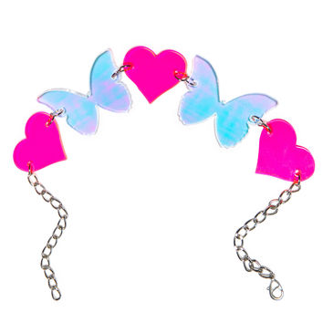 Marina Fini X Dolls Kill Butterfly Kisses Choker Pink Hearts/Holographic One