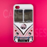 Iphone 4 Case, Volkswagen VW Pink Minibus Kawaii Iphone 4s Cases,Protective Rubber Iphone 4 4s Case