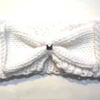 Knitted White Bow Headwrap with stud