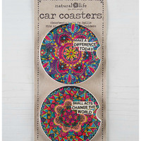 Natural Life Car Coaster Set - Make A Difference