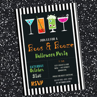 Printable Halloween Party Invitation / boos and booze Halloween invitation / adult Halloween party invitation / Halloween invitation