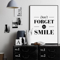 Nordic Black White Motivational Quotes Poster Print A4 Big Typography Smile Wall Art Modern Minimalist Home Deco Canvas Painting
