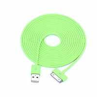 Colorful 30pin USB Data Sync and Charge Cable Compatible with Iphone 4/4s, Iphone 3g/3gs, Ipod (Green,10ft Long)