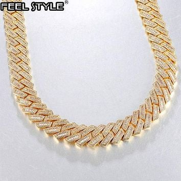 Hip Hop 21MM 3 Row Baguette Prong Cuban Chains Bling Iced Out CZ Setting AAA+ Cubic Zirconia Box Buckle Necklace For Men Jewelry
