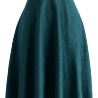 Faux Suede A-line Skirt in Turquoise