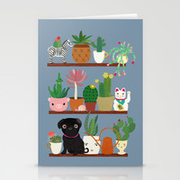 Cactus Shelf with Pug Stationery Cards by Elisandra