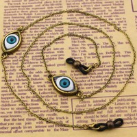 GL037 10PCS/Lot Free Shipping 70cm length black rubber ends evil eye vintage eyeglass chain holder