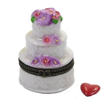 Hinged Trinket Box Three Layer Cake Wedding Flowers - EB1354