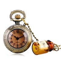 Small Pocket Watch Alice in Wonderland Drink Me Pendant with Bottle Birthday Gift