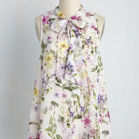 Sheer Style Top in Butterfly Garden | Mod Retro Vintage Short Sleeve Shirts | ModCloth.com