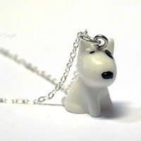 Cute Dog Necklace - Kawaii black and white puppy pendant charm