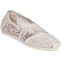 TOMS Crochet Classic Slip-On Natural Fabric - Jildor Shoes, Since 1949