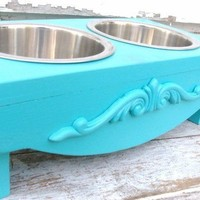 Pet Bowl HolderTeal Elevated Dog Feeder by baconsquarefarm on Etsy