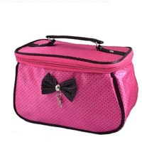 uxcell® Women Dots Printed Bowknot Decor Zipper Cosmetic Bag Purse Fuchsia