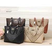 Coach Women Fashion Shopping Bag Leather Satchel Handbag Shoulder Bag Crossbody Three piece Set G-KSPJ-BBDL