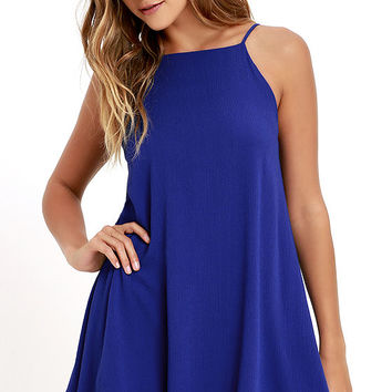 Sights and Sounds Royal Blue Swing Dress