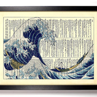 Repurposed Book Upcycled Dictionary Art Vintage Book Print Recycled Vintage Dictionary Page The Great Wave Woodblock Buy 2 Get 1 FREE