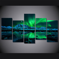 HD Printed Aurora Borealis Painting on Canvas Wall Art