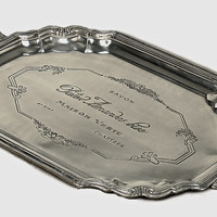 Dessau Home Antique Silver Etched French Tray W/Handles - S682