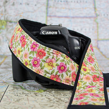 dSLR Camera Strap, Pocket, Pink, Coral, Yellow, Floral, SLR, 17