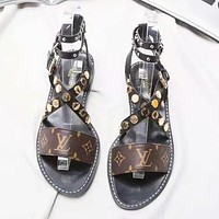 LV Louis Vuitton High Quality Fashion New Print Sandals Slippers Shoes Women Coffee